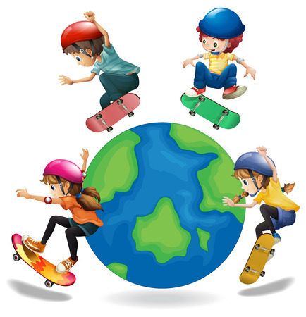 Kids skating around the Earth Vector