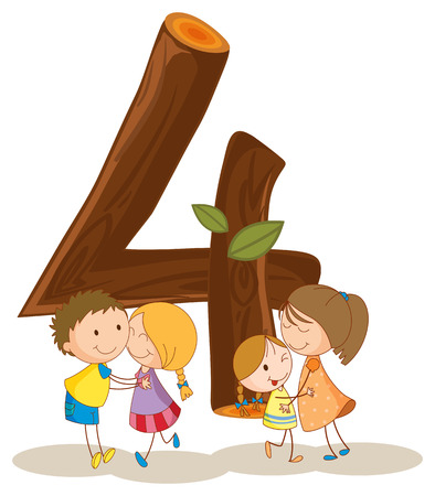 numeracy: Kids around the number 4 Illustration