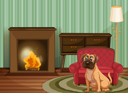 Dog sitting by fire inside Vector