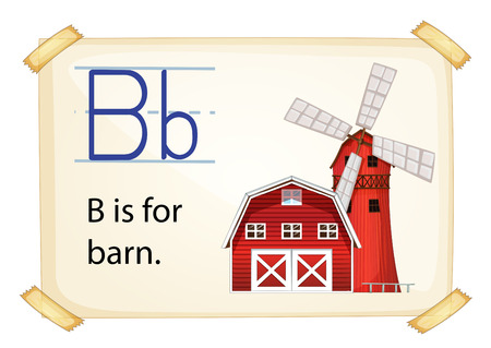 cartoon words: Literacy card showing the letter B with example object and sentence Illustration
