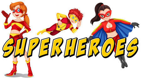 super woman: Superheroes theme with text on white
