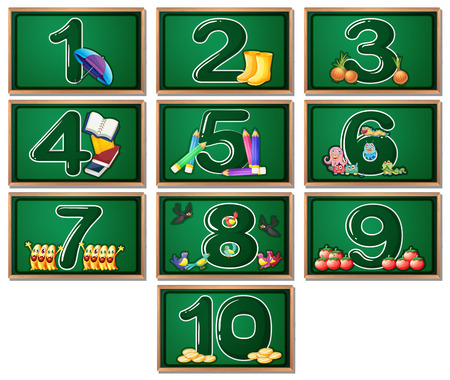 numero uno: Los números en las pizarras de 1 a 10 Vectores