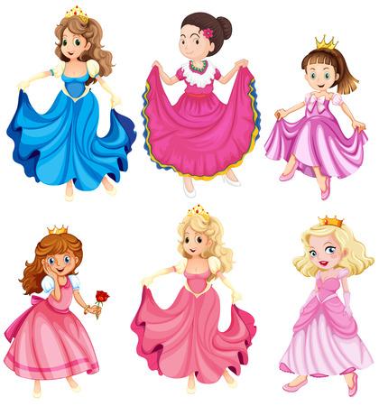 Księżniczki i królowe w sukniach Ilustracje wektorowe