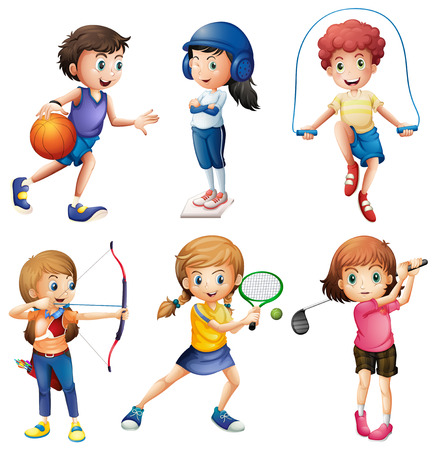cliparts: Kinderen spelen sport op wit