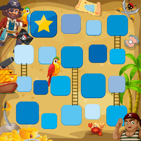 Pirate boardgame theme with birds Vector Illustration