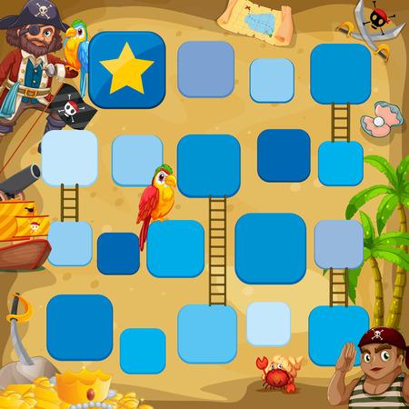 Pirate Brettspiel Thema mit Vögeln Vektorgrafik