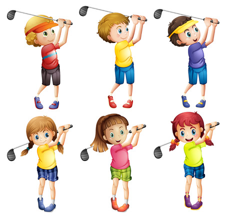 Kids playing golf on white Vector
