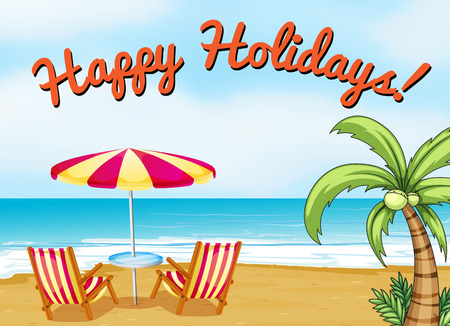 beach sea: Happy holidays beach scene with text