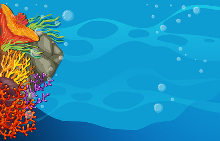 Empty underwater scene with coral Vector