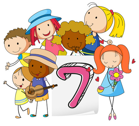 numbers clipart: Number seven with children on white