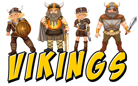 Four vikings with text on white Illustration
