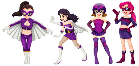 Superhoero set with purple colour scheme Vector