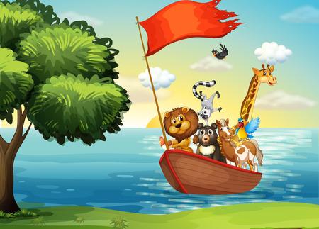 Animales en barco arca en la orilla