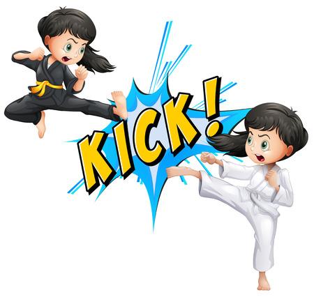 artes marciales: Chicas patadas con flash en blanco