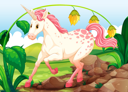 Unicorn in an outdoor scene Vector