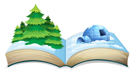 fantasy book: Nature scenes popping out of a book