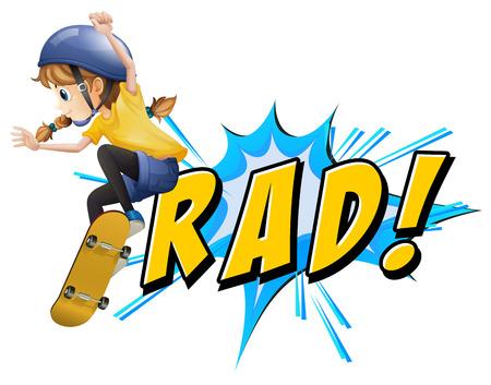 Skating boy with Rad text