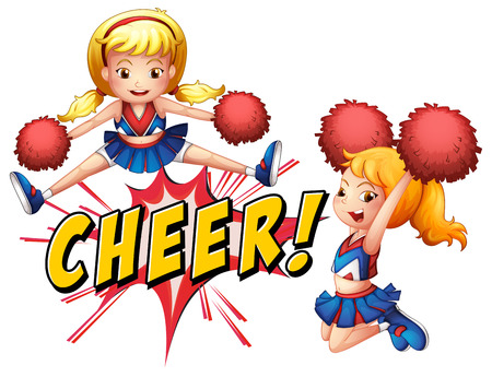 pom pom: Girls jumping with cheer icon Illustration