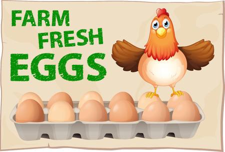 Bauernhof frische Eier Poster mit Huhn Standard-Bild - 33299586