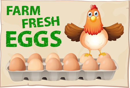 wording: Farm fresh eggs poster with chicken