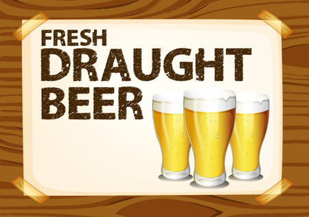 Fresh draught beer poster on wood Vector
