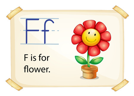 literacy: Literacy card showing the letter F