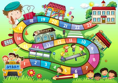 Gameboard con un tema scuola i bambini Vettoriali