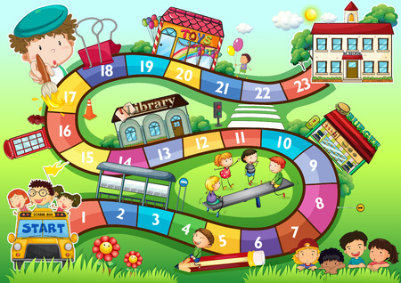 Gameboard with a school kids theme Stock Illustratie