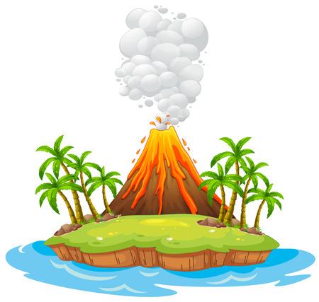 uitbarsting: Vulkaan op een eiland met rook Stock Illustratie