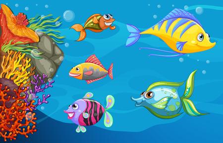 A school of fish under the deep sea Vector
