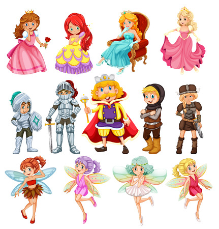 Conjunto de los caballeros de la fantasía y princesas Foto de archivo - 33831675