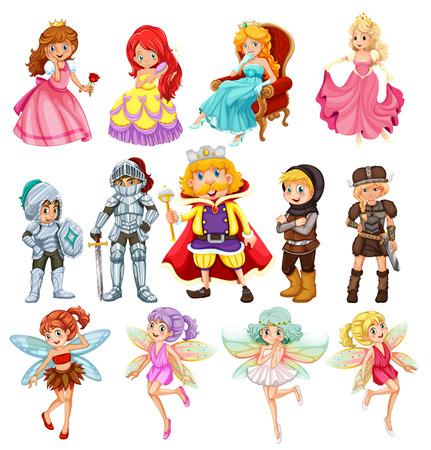 Set of fantasy knights and princesses