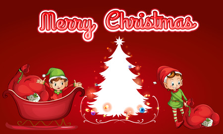 Merry Christmas theme with helping elves Vector