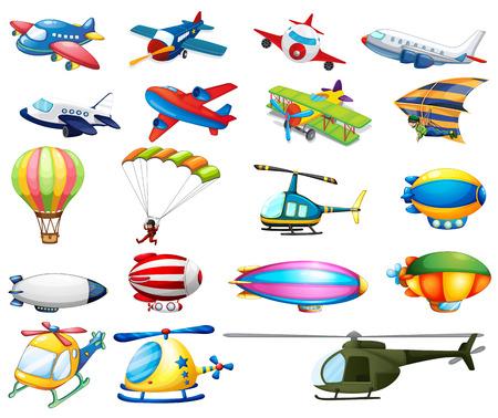 Różne rodzaje transportu lotniczego Ilustracje wektorowe