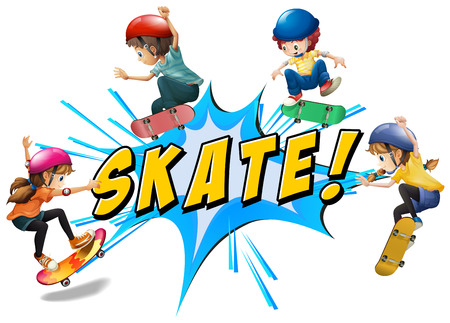 wording: Skate kids with wording and text Illustration
