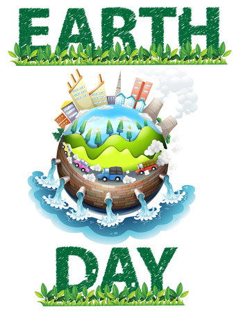 cartoon earth: Earth day poster theme on white Illustration
