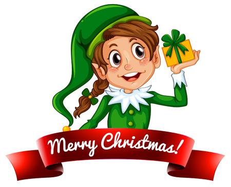 elf christmas: Etiqueta Duende de la Navidad femenino lindo