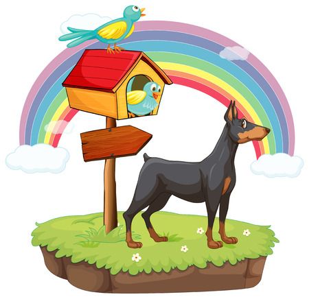 pointed arrows: An island with animals and a wooden arrow on a white background