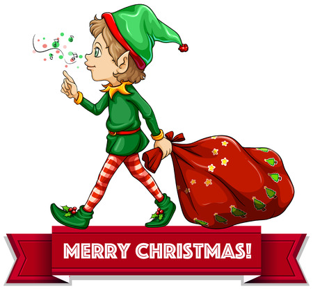 letters clipart: Merry Christmas with elf and sack of toys