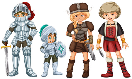 brave: Four brave fighters on a white background