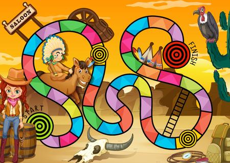 rope ladder: Oeste salvaje juego de mesa tema Vectores