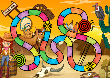 Wild west board game theme Vector
