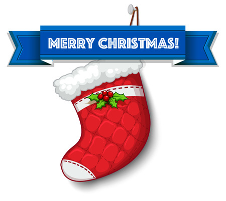 white stockings: Merry Christmas with empty stocking