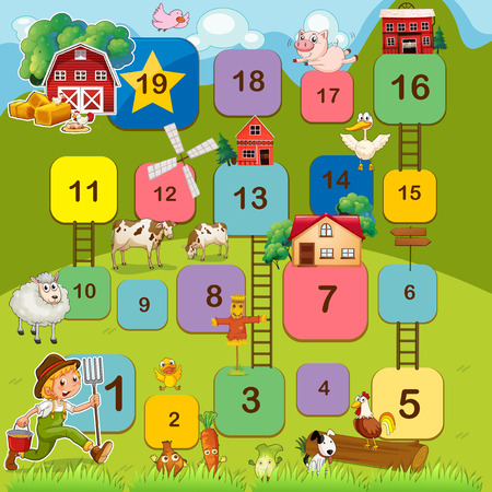 snakes and ladders: Board game with farm animals