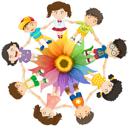 multi cultural: Kids holding hands around colourful flower