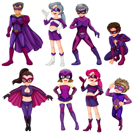 Set of purple superheroes on white Vector