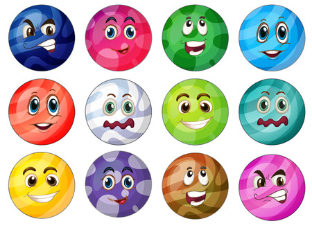 depress: Sets of colourful balls on a white background