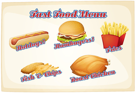 Fast food menu with assorted foods Vector