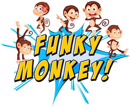cheeky: Funky monkey text with monkeys