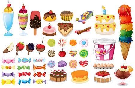各種食品、お菓子、白のデザート  イラスト・ベクター素材